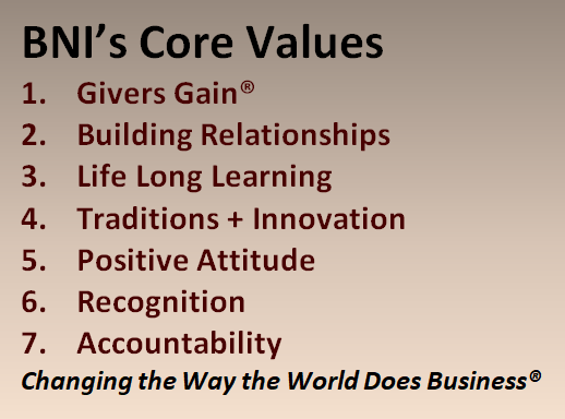 BNI Hunter Valley and Central Coast Core Values