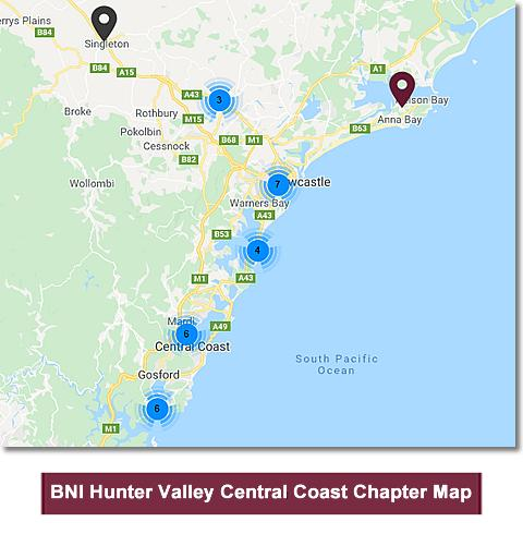 BNI Hunter Valley Central Coast Chapter Map